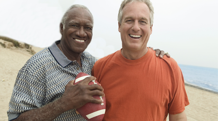 Two Older Men With a Football